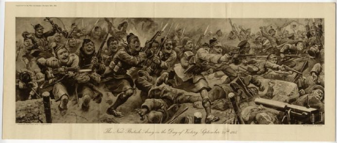 1915 LOOS 25 Sept Print BRITISH SCOTTISH SOLDIERS Battle Attack Charge S WOOD